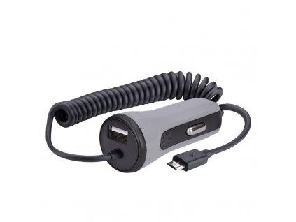 USB nabíjecí autoadaptér - 1xUSB, 1xmicro USB kabel, 3400mA max., DC 12-24V, černošedý - Solight (DC50)