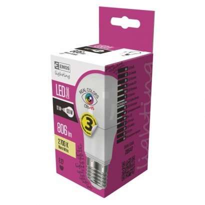 LED žárovka Ra90+ - Classic A60 - 10W, 806lm, E27, teplá bílá, Ra95 - Emos (ZQ5147)