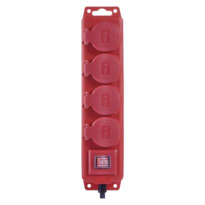 Prodlužovací kabel 10m, 4 zásuvky, 3x1,5mm, gumový, červený - Emos (P14101)