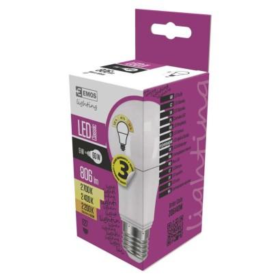 LED žárovka Classic A60 9W E27 teplá bílá (WW), stmívatelná
