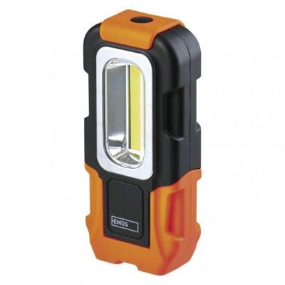 LED svítilna plastová, 3W COB LED, na 3x AAA - Emos (P3888)