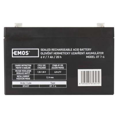 Bezúdržbový olověný akumulátor 6V 7Ah - Emos (B9659)