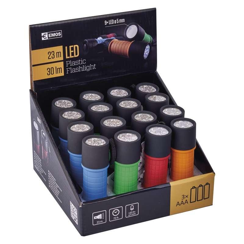 LED svítilna plastová, 9x LED, na 3x AAA, 16 ks - Emos (P3857)