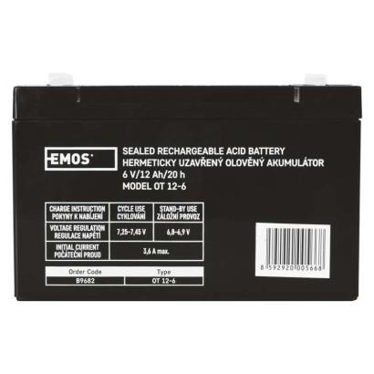 Bezúdržbový olověný akumulátor 6V 12Ah - Emos (B9682)