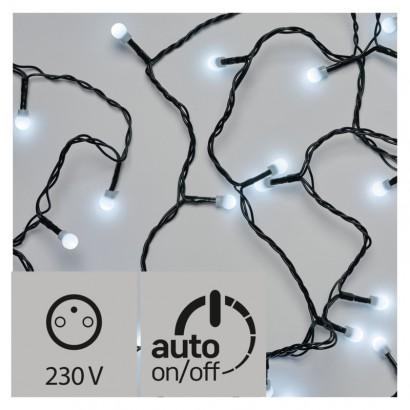Vánoční LED řetěz - kuličky - 200xLED, 20+5 metrů, IP44, studená bílá, časovač - Emos (ZY0903T)