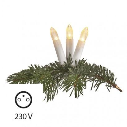 Vánoční LED řetěz - svíčky - 20xLED, 7+5 metrů, IP44, teplá bílá, časovač - Emos (ZY1424)