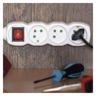 Prodlužovací kabel s vypínačem 5 zásuvky 10m, bílý