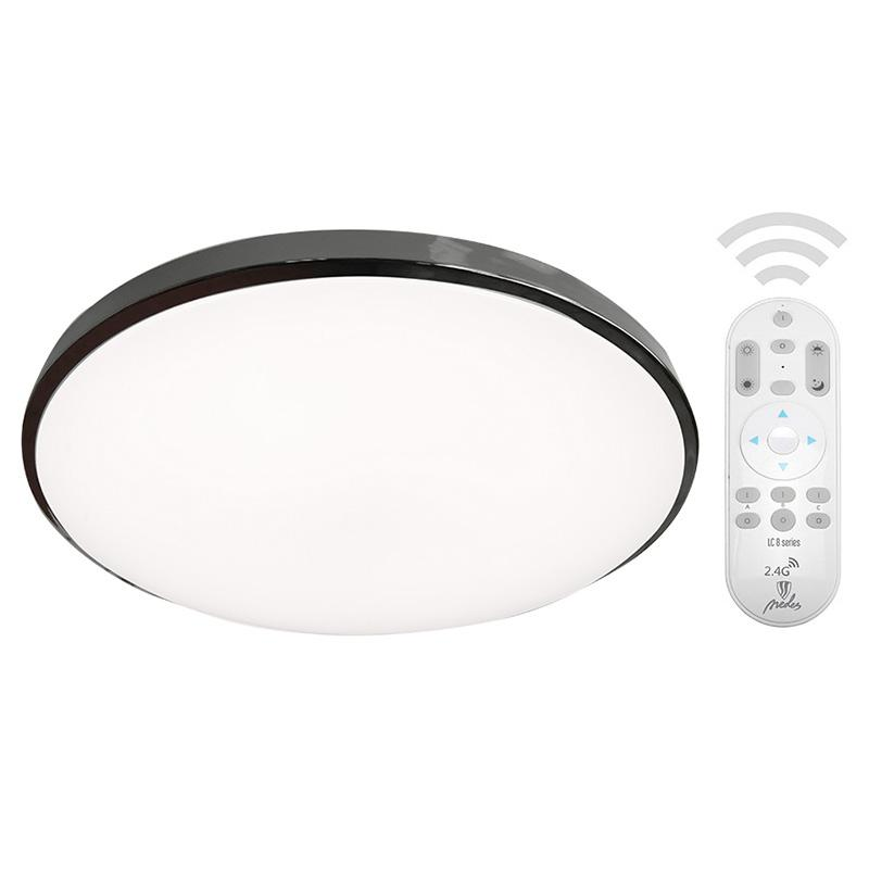 LED přisazené stmívatelné CCT svítidlo kulaté - 50W/3600lm/CCT/opál - černý chrom + ovladač 2,4GHz - Nedes (LC801A/BCH)
