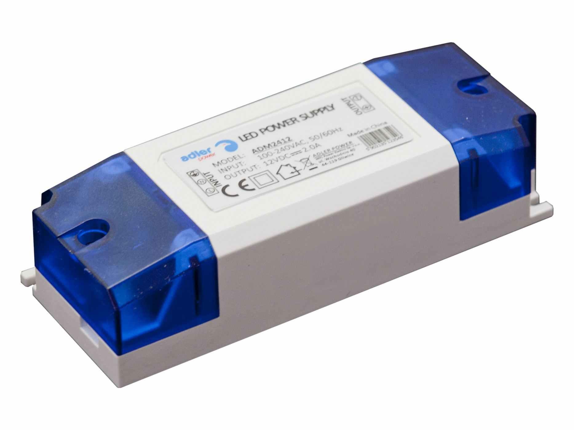 Vnitřní LED zdroj - 24W, 2A, 12V, IP20, PLASTIC kryt - (ADM2412) - Greenlux (GXLD101)