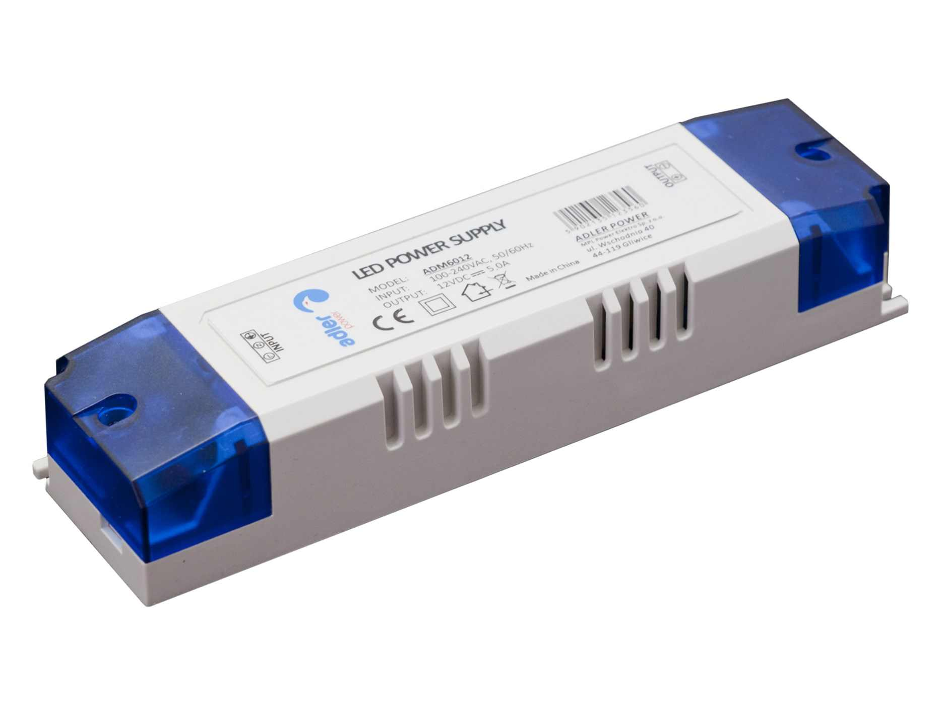 Vnitřní LED zdroj - 60W, 5A, 12V, IP20, PLASTIC kryt - (ADM6012) - Greenlux (GXLD103)