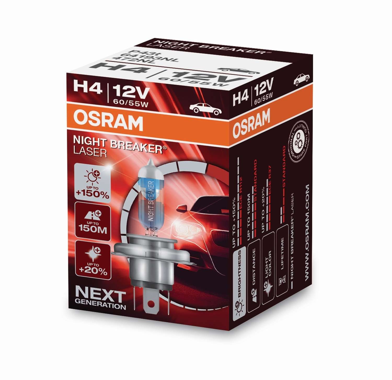 Osram Night Breaker Laser 64193NL H4 P43t-38 12V 60/55W