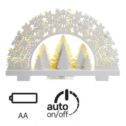 LED vánoční dekorace - stojánek se stromky - teplá bílá, časovač, 3xAA - Emos (ZY1958)