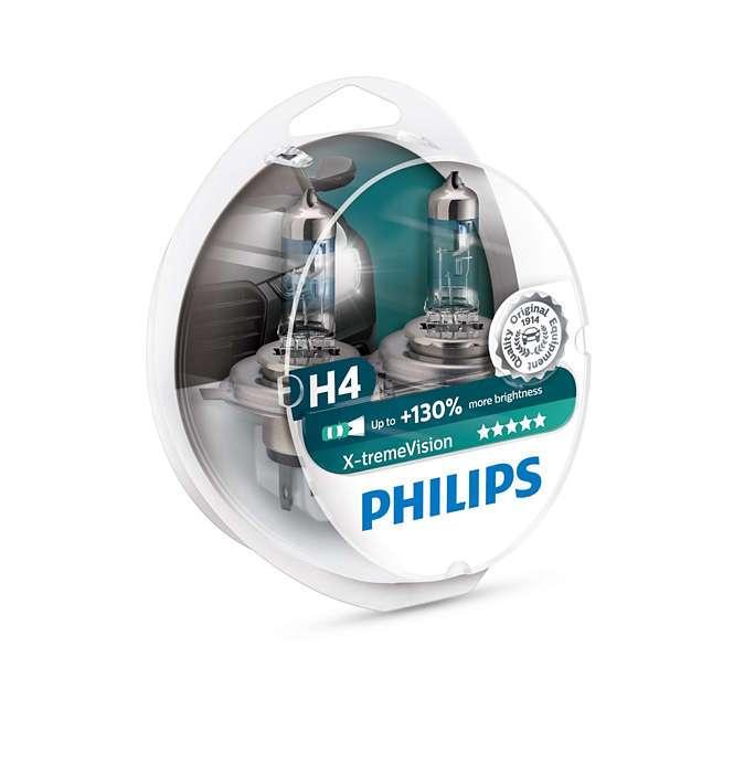 H4 Philips X-tremeVision +130% (2 ks) - 12V, 60/55W, P43t - Philips (12342XV+S2)