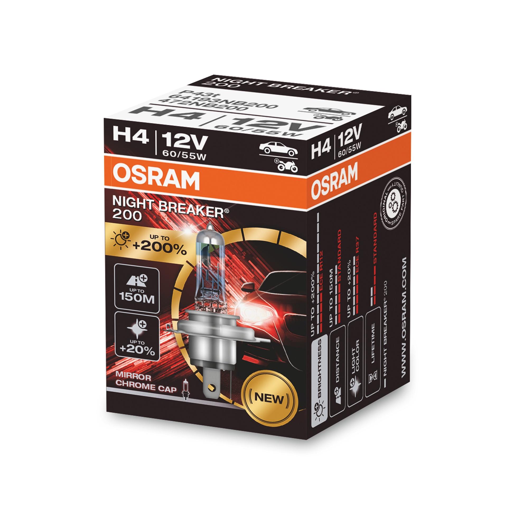 Osram Night Breaker 200 64193NB200 H4 P43t-38 12V 60/55W
