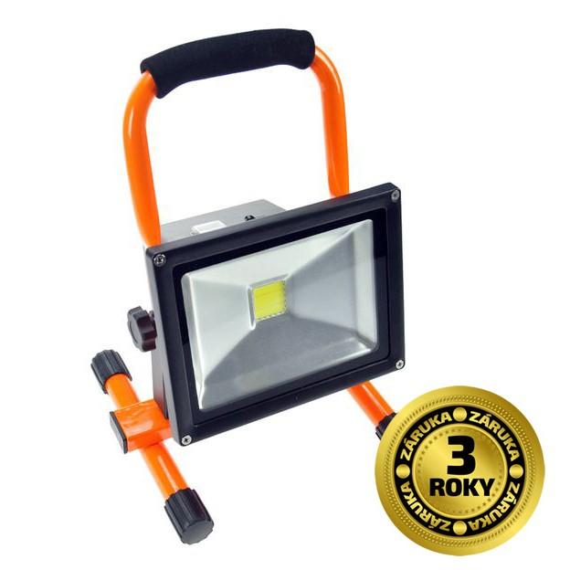 LED reflektor 20W, přenosný, nabíjecí, 1600lm, oranžovo-černý - Solight (WM-20W-D)