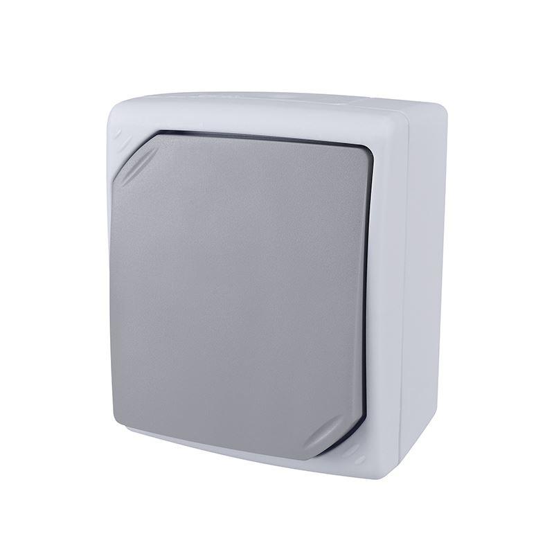 Solight vypínač do vlhka IP54, č. 1 jednopólový, šedý