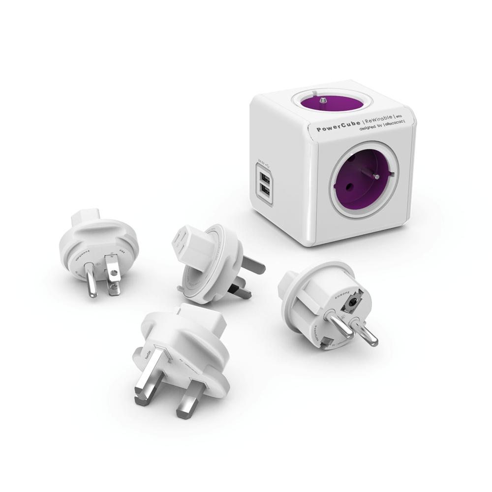 PowerCube Rewirable USB - 4 x zásuvka + 2 x USB + TravelPlugs - fialová