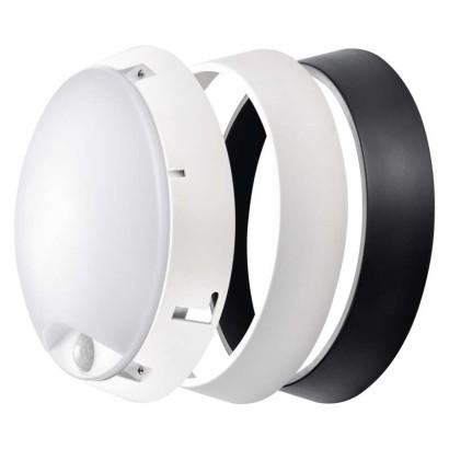 LED přisazené svítidlo s PIR - 14W, teplá bílá, kruh, černá/bílá, IP54 - Emos (ZM3131)