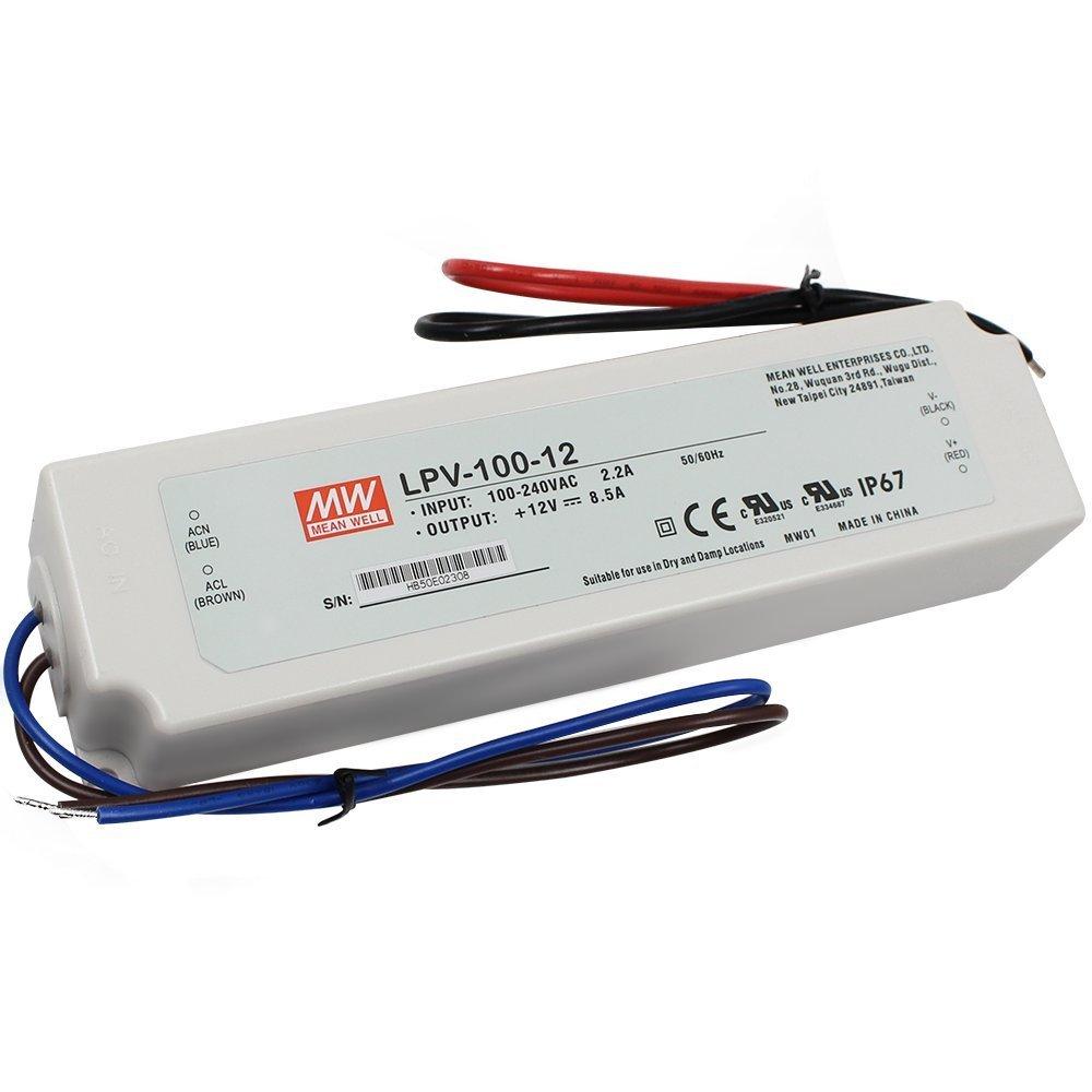Napájecí zdroj pro LED - 102W/12V/8,5A/IP67 - Mean Well (LPV-100-12)