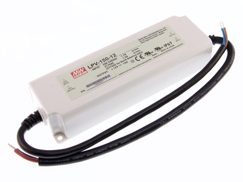 Napájecí zdroj pro LED - 120W/12V/10A/IP67 - Mean Well (LPV-150-12)