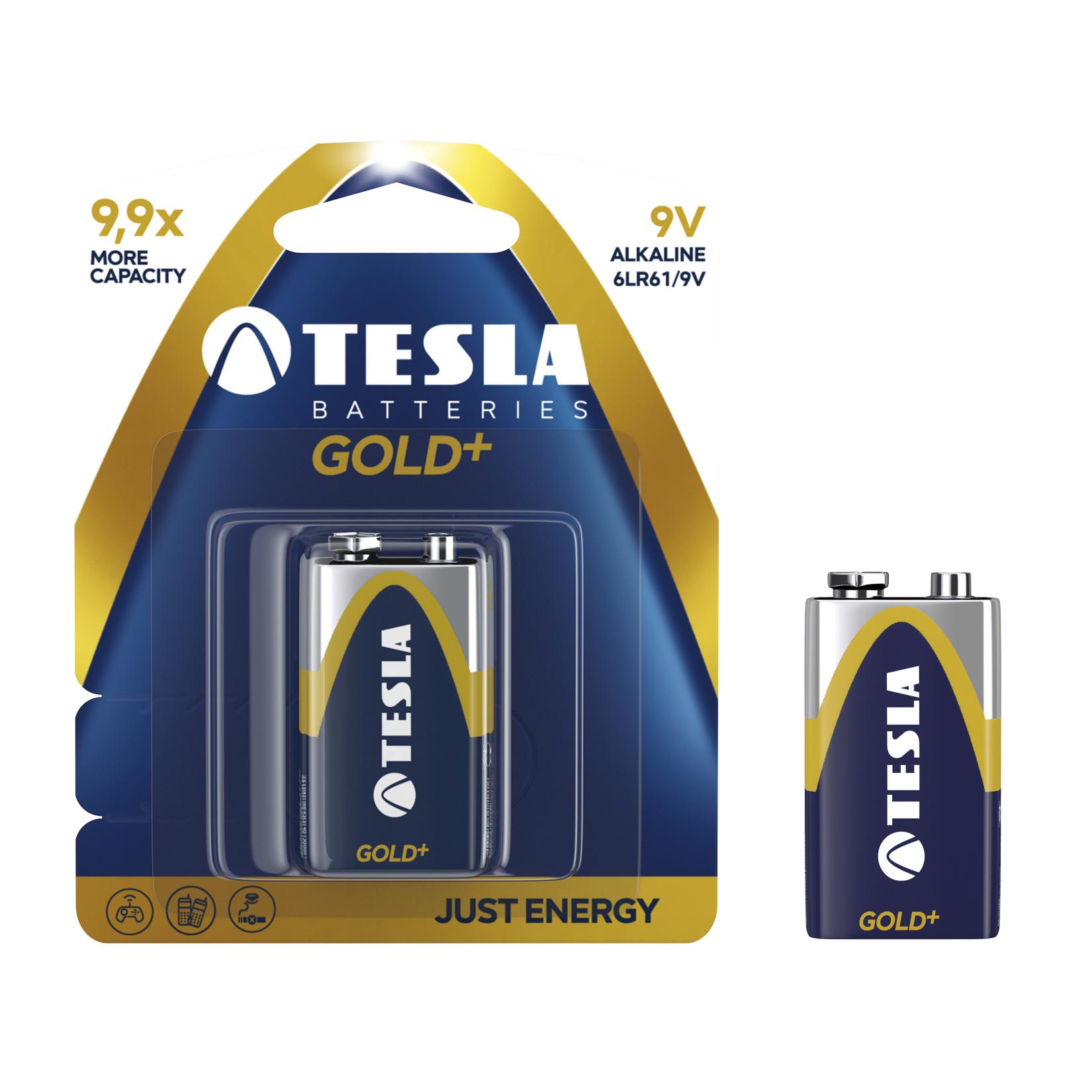 Alkalická baterie TESLA GOLD+ 9V/6LR61 (1 ks) - Tesla batteries (1099137028)