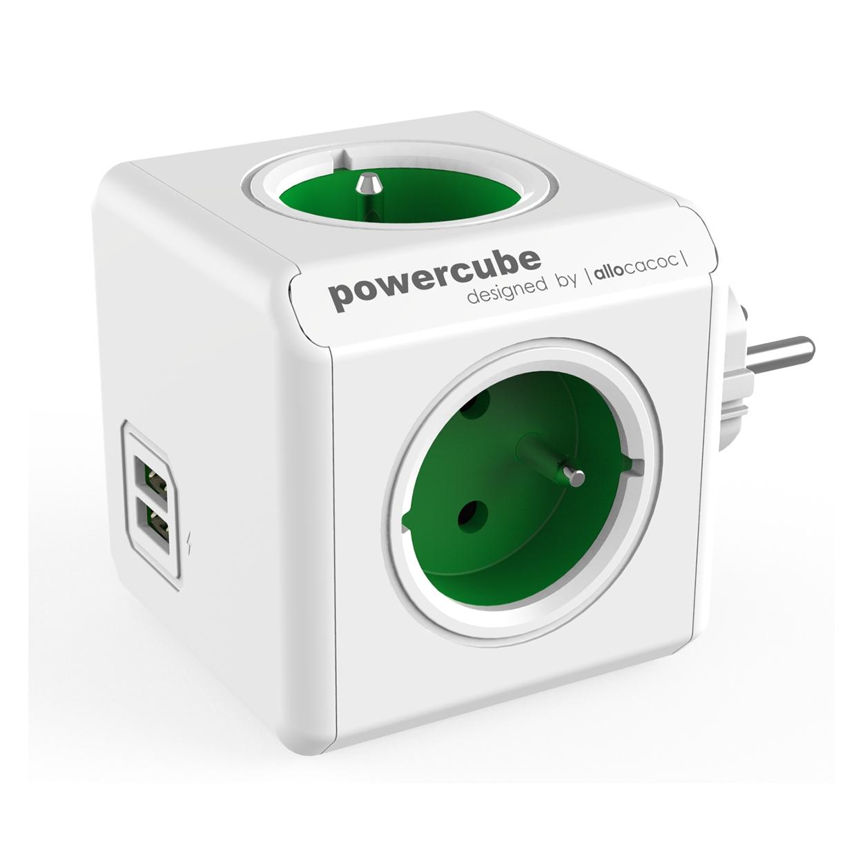 PowerCube Original USB - 4 x zásuvka + 2 x USB - zelená