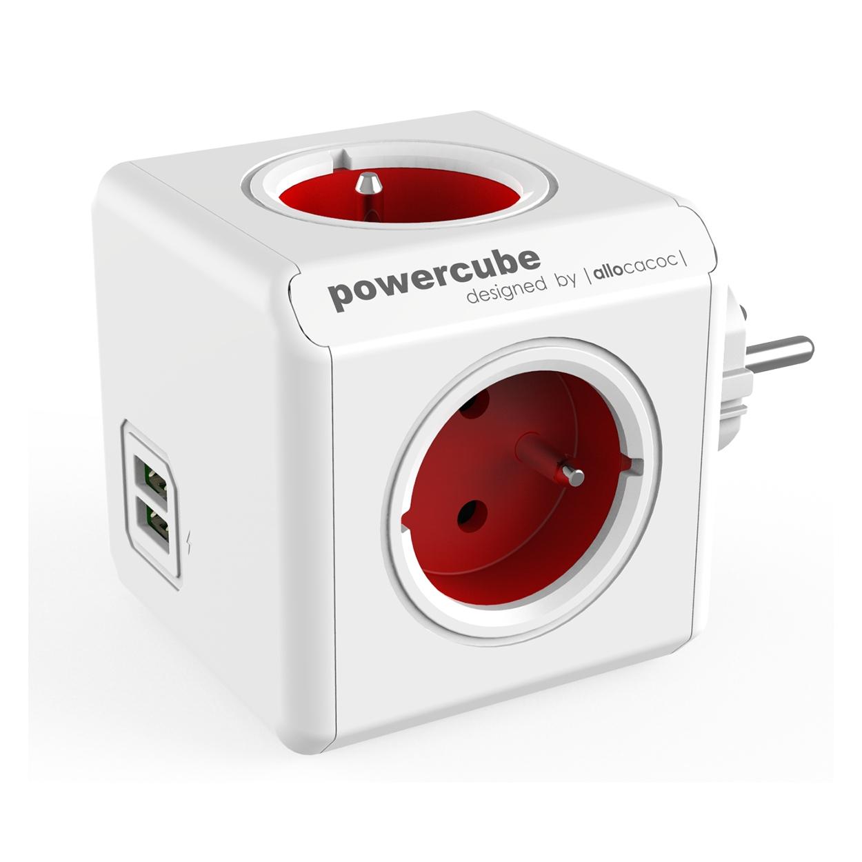 PowerCube Original USB - 4 x zásuvka + 2 x USB - červená