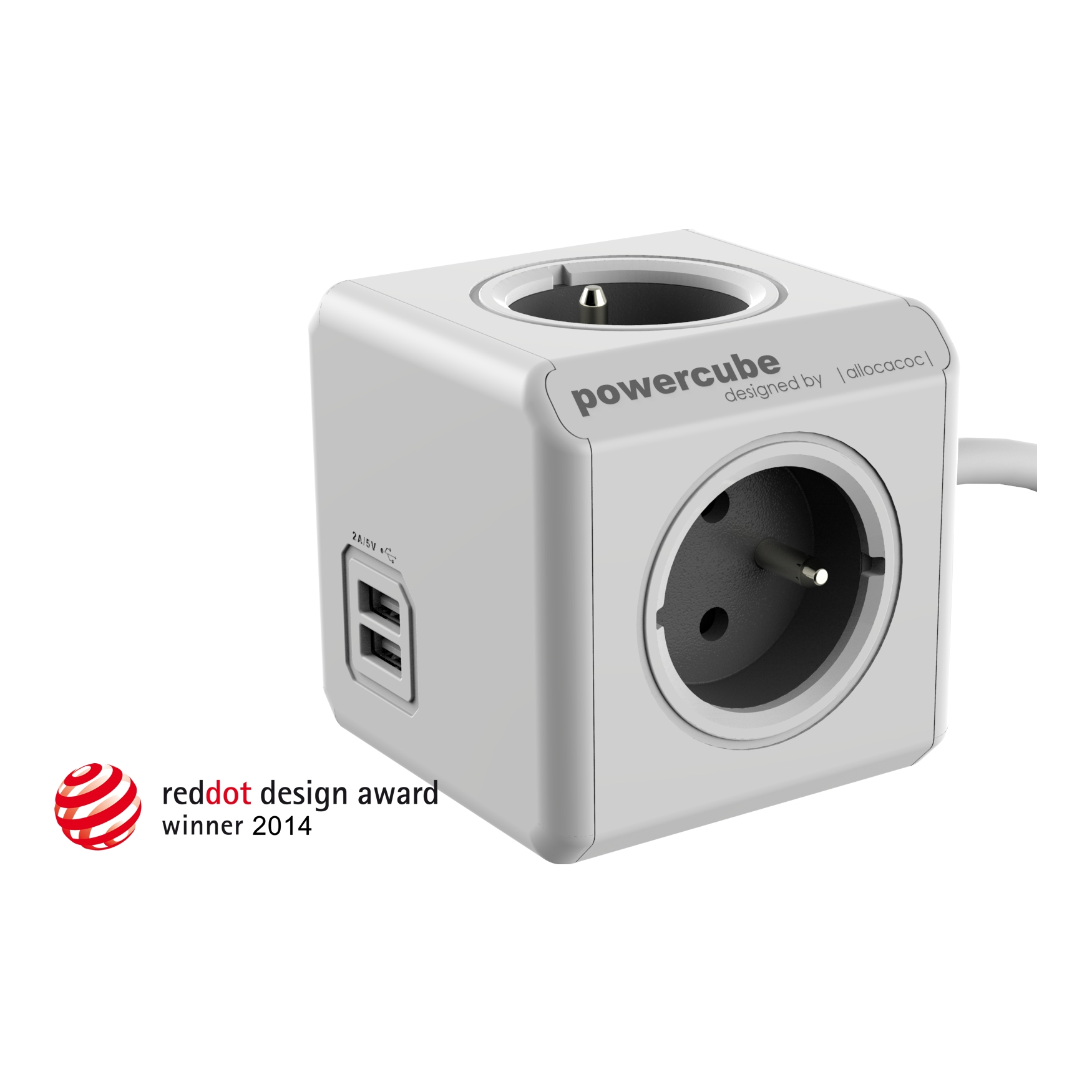 PowerCube Extended USB - 4 x zásuvka + 2 x USB + 1,5 přívodní kabel - šedá
