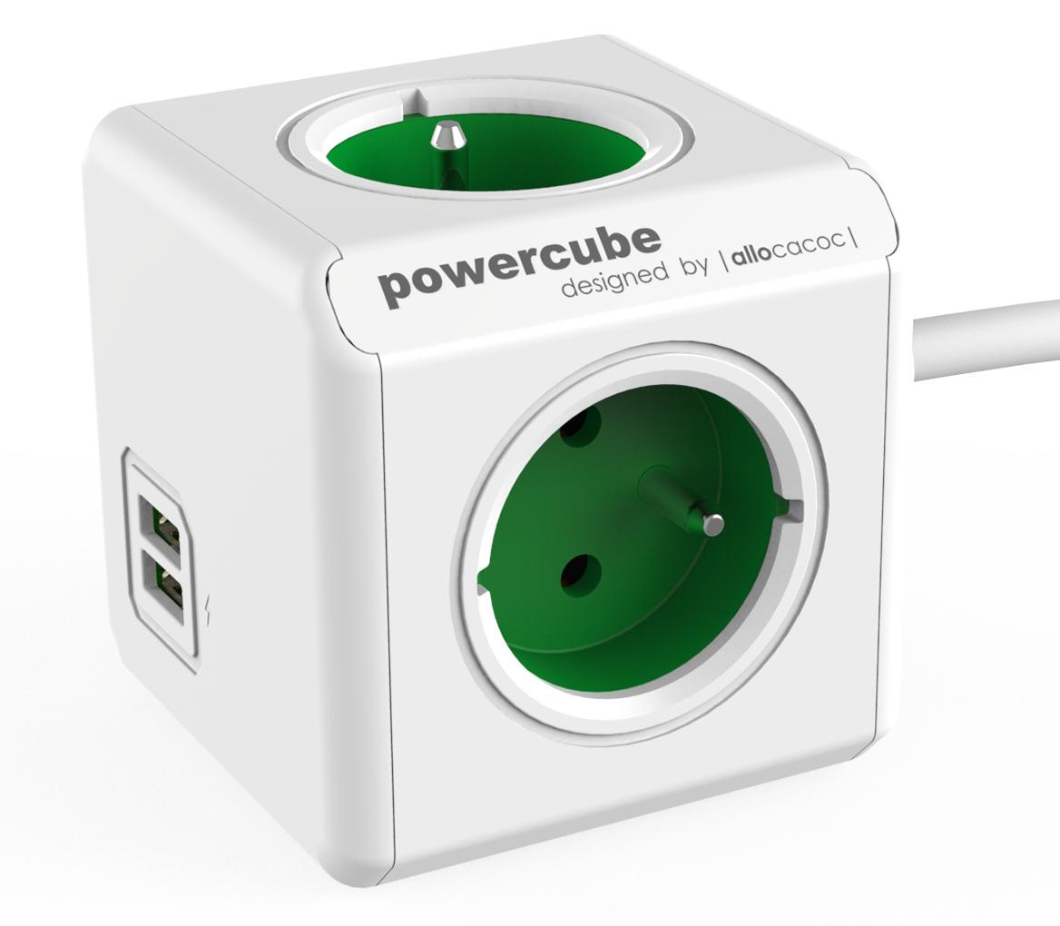 PowerCube Extended USB - 4 x zásuvka + 2 x USB + 1,5 přívodní kabel - zelená