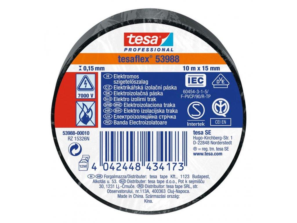 TESA Lepiaca páska elektroizolačná 15mm, 10m, čierna