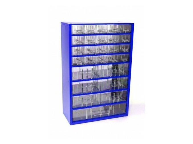 Skrinka 30,5x46x15,5cm s plastovými zásuvkami: 20 malých, 6 stredných a 1 veľká zásuvka.