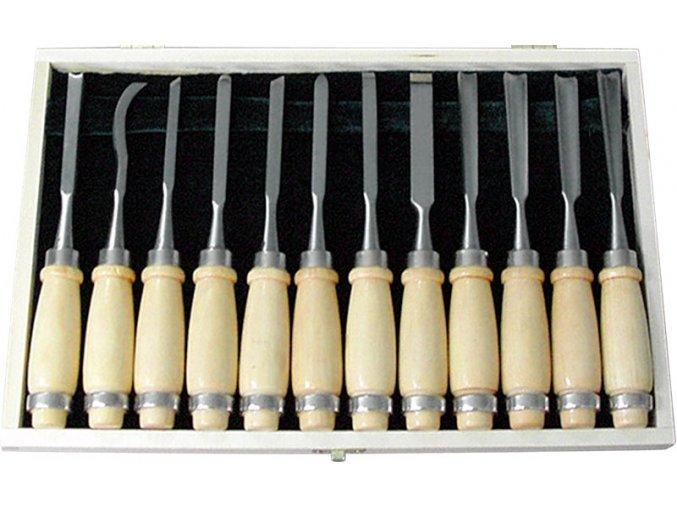 EXTOL Dláta rezbárske Cr-V, 12-dielna sada, 200mm, drevené puzdro