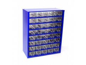 skrinka so 40 plastovými zásuvkami modrá R3.38027