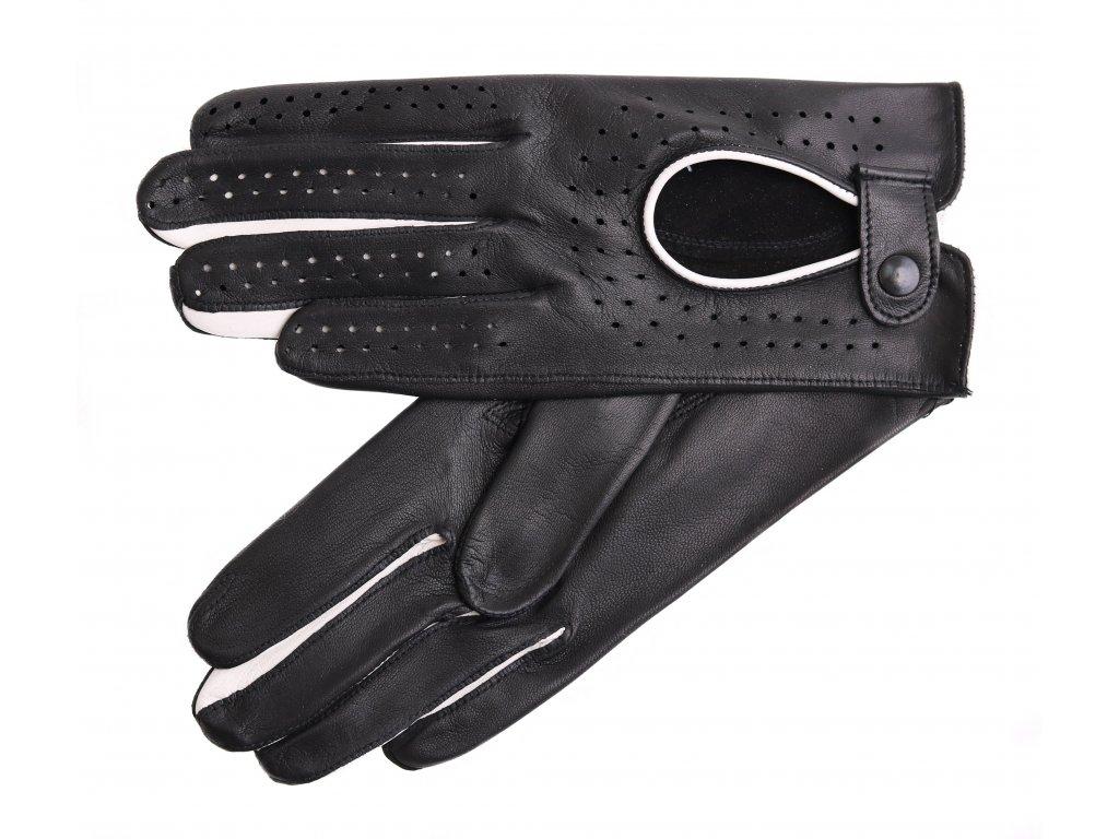 kozene-ridicske-rukavice-do-auta-prstove-cerne-s-bilymi-detaily