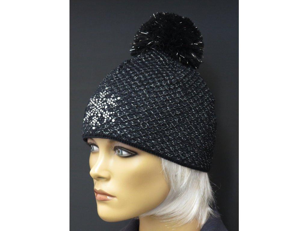 Dámská pletená čepice s textilní bambulí 611 černá zdobená stříbrným  lurexem a kameny b6b8f22cf3