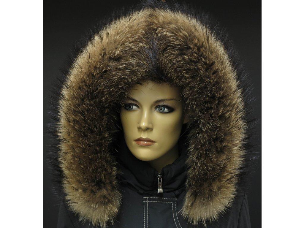 Kožešina lem / límec na kapuci z mývalovce 3094 NATUR
