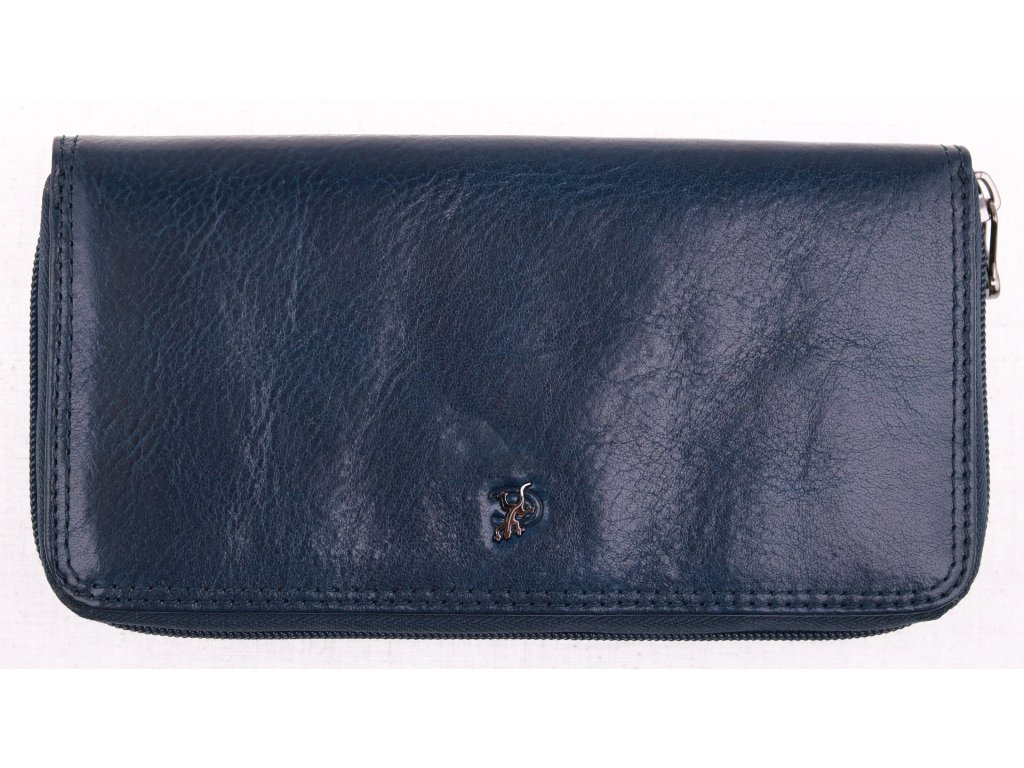 Velká dámská kožená peněženka penál Cosset 4492 Komodo modrá