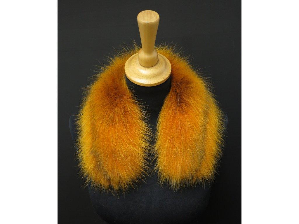 Kožešina lem / límec na kapuci z finského mývalovce 10023 ŽLUTÁ 50 CM KRÁTKÝ 2. JAKOST