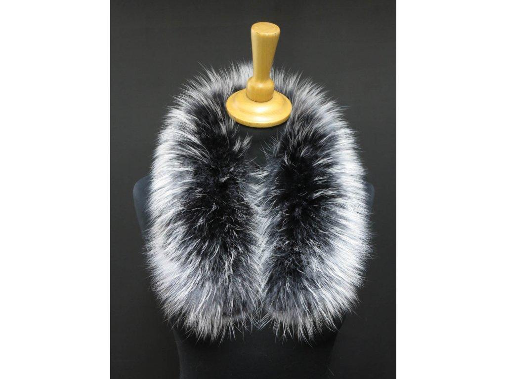 Kožešinový lem límec na kapuci z finského mývalovce 10038 BLACK & WHITE 2. JAKOST KRÁTKÝ 60 CM