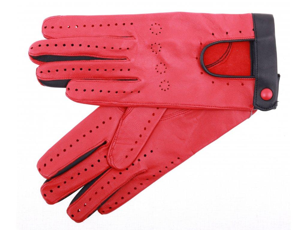 Dámské kožené řidičské rukavice 3323 červené perforované