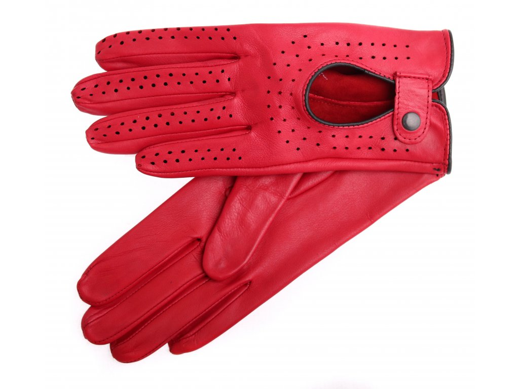 Dámské kožené řidičské rukavice 3034 červené perforované