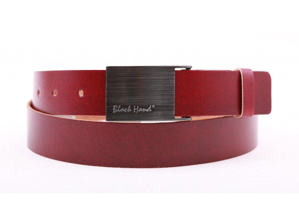Dámský kožený opasek Black Hand 065-53 vínově červený