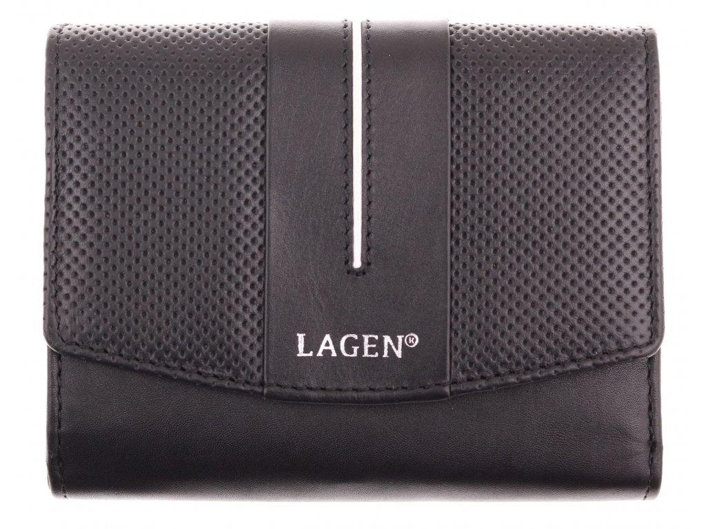 Dámská  kožená peněženka Lagen 5436 černá bílá