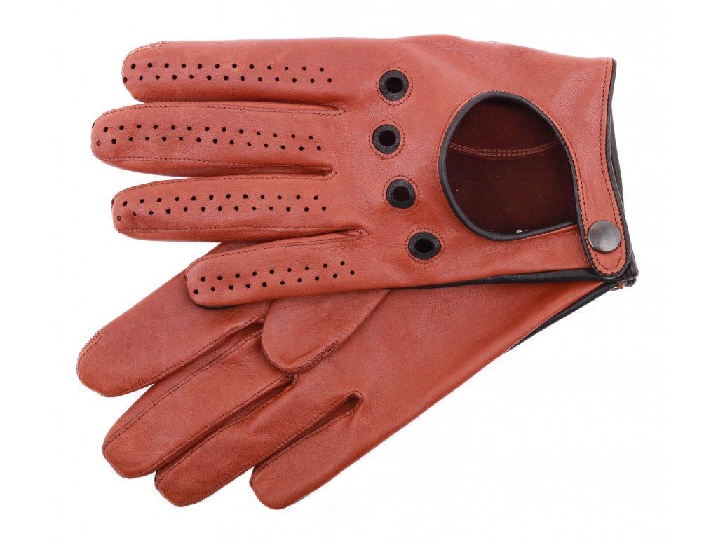 Pánské kožené řidičské rukavice 1448P koňakově hnědé s černými detaily