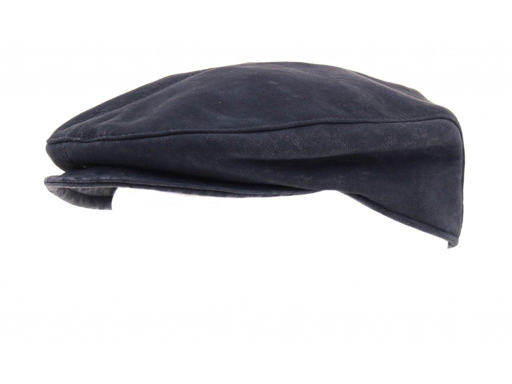 Pánská kožená čepice s kšiltem - bekovka BE13 šedočerná broušená skopovice