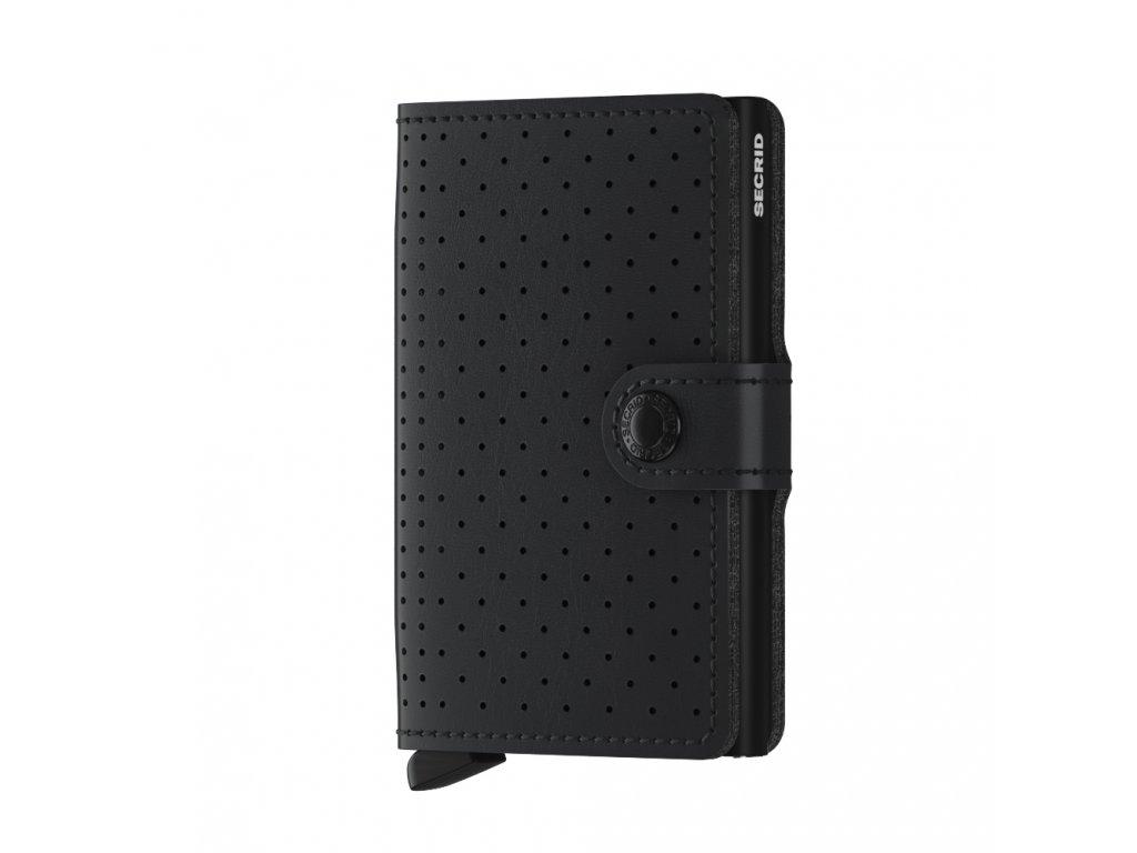 malá kožená peněženka černá + hliníkové pouzdro na platební karty