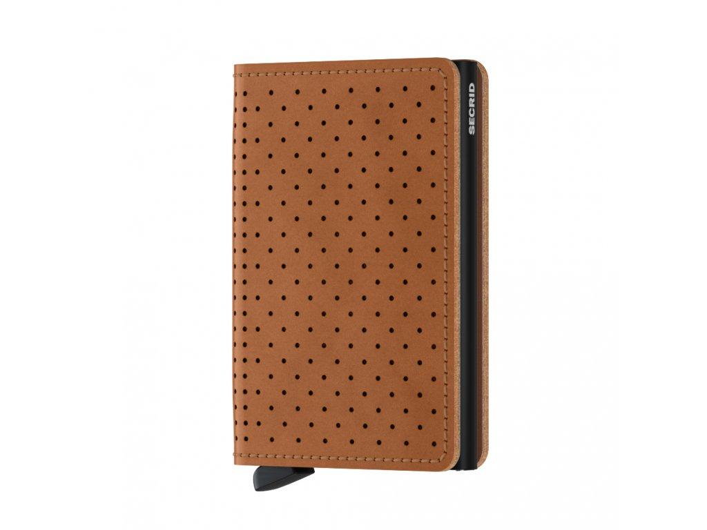 Kožená peněženka SECRID Slimwallet Perforated Cognac koňaková