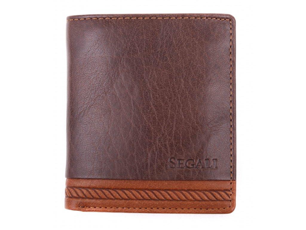 Pánská kožená peněženka Segali W81042 tmavě hnědá + koňakově hnědá