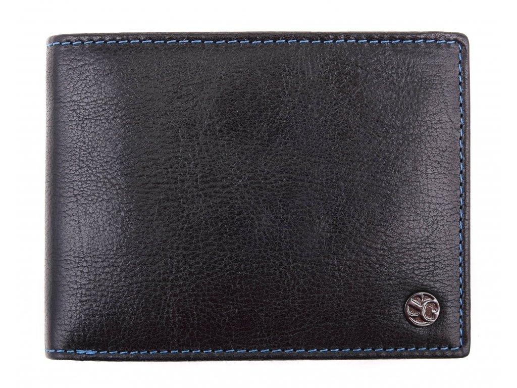 Pánská kožená peněženka Segali 907.114.005C černá + modrá