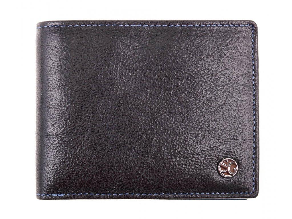 Pánská kožená peněženka Segali 907.114.026 černá + modrá